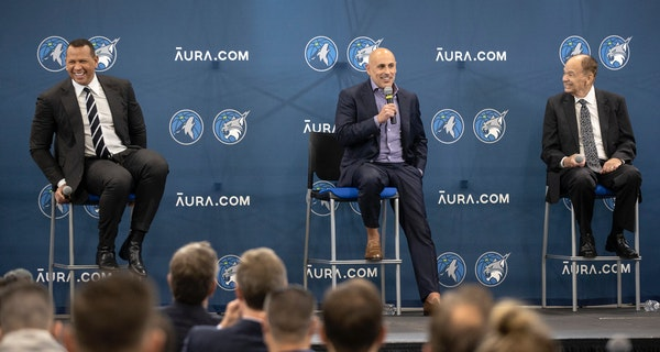 Marc Lore and Alex Rodriguez along with Timberwolves and Lynx owner Glen Taylor during a news conference Monday.