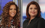 """This combination of photos shows co-hosts Sunny Hostin, left, and Ana Navarro on the set of """"The View,"""" in New York on Sept. 17, 2021. Hostin and"""