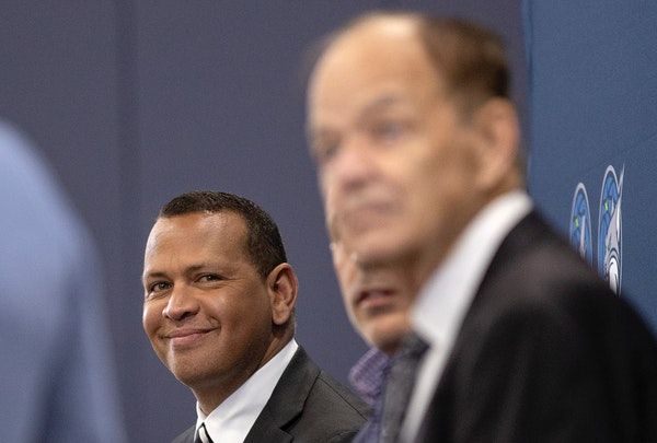 Alex Rodriguez joined Marc Lore and Timberwolves and Lynx owner Glen Taylor during a news conference Monday.