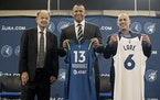 Timberwolves and Lynx owner Glen Taylor and Alt-Governors Alex Rodriguez and Marc Lore posed for photos.           ] CARLOS GONZALEZ • cgonz