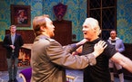 """Greg Frankenfield (right) and Luke Aaron Davidson rehearsed a scene on stage for the Old Log Theater production """"The Play That Goes Wrong."""""""