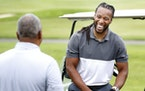 Larry Fitzgerald gets on the golf course more now, as he did back in 2016 at Rush Creek Golf Club in Maple Grove.