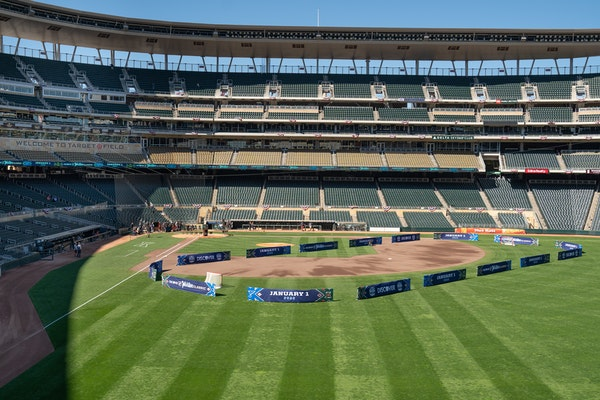 Fences show how the hockey rink will be set at Target Field for the Winter Classic.