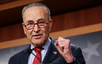 Senate Majority Leader Chuck Schumer, D-N.Y., holds a news conference on March 25, 2021, in Washington. On Monday, he called the Senate's debt-ceili