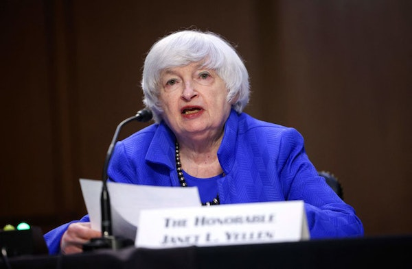 Treasury Secretary Janet Yellen speaks during a Senate Banking, Housing and Urban Affairs Committee hearing on the CARES Act, at the Hart Senate Offic