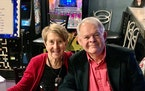 Margie and Don Varnadoe attending a December 2020 Christmas party in Brunswick, Ga, for the real estate officer where Don Varnadoe worked.