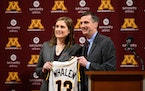 Lindsay Whalen was introduced as the Gophers women's basketball coach in 2018 at Williams Arena