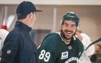 Frederick Gaudreau had a laugh during a Wild practice on Sept. 23.