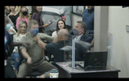 A scuffle broke out during the Carver County school board meeting Monday, as seen in this screenshot of the video posted on the district's website.