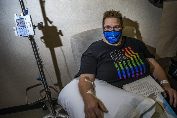 At the Mayo Family Clinic Northwest in Rochester on Wednesday, Angie Riska-King, 48, finished up her infusion of monoclonal antibody treatment with a
