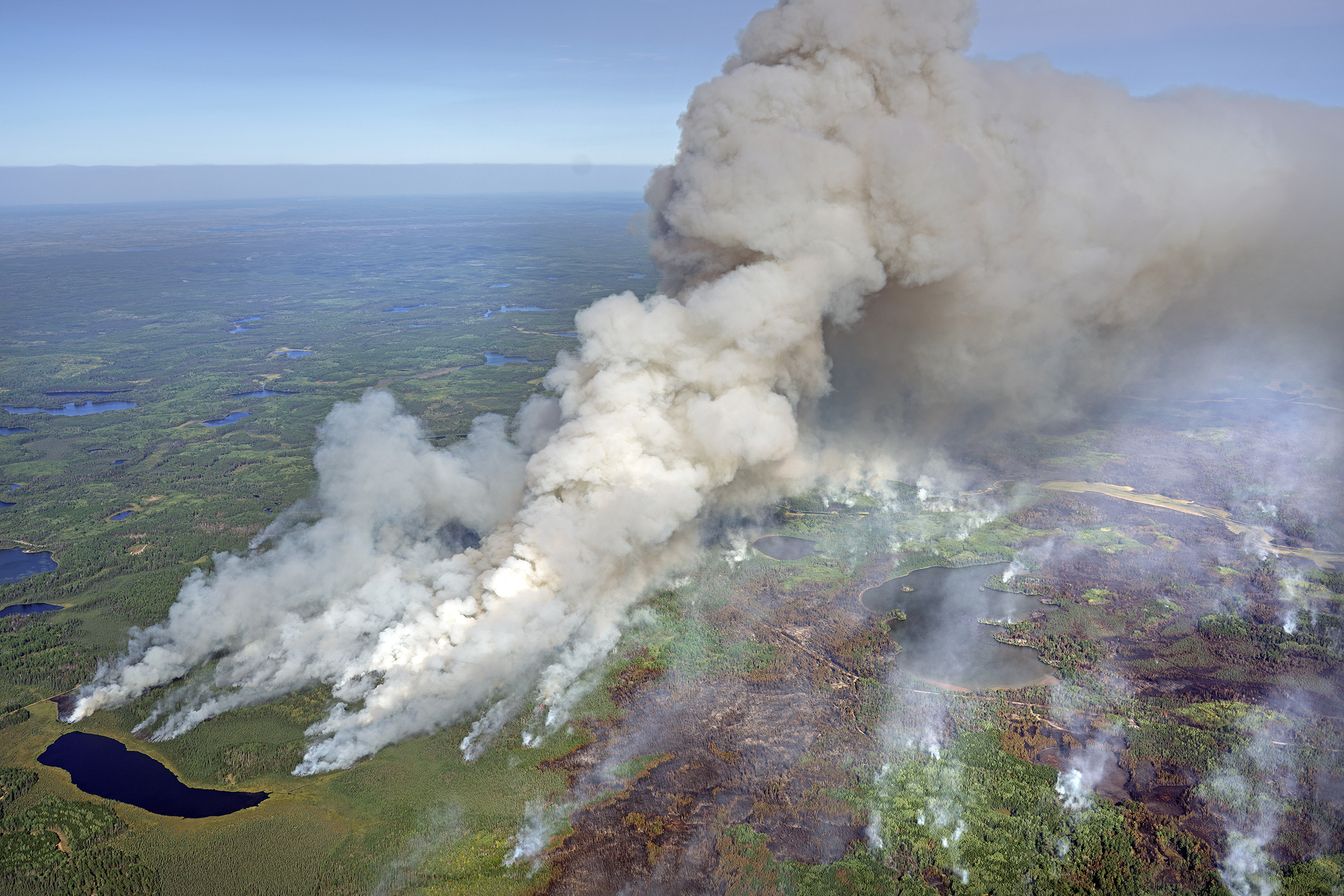 An aerial view of the Greenwood Fire in August 2021.