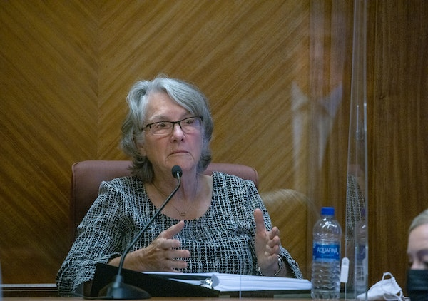 Otto Bremer Trust trustee Charlotte Johnson testified in Judge Robert Awsumb's courtroom at the Ramsey County Courthouse on Thursday,