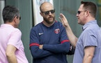 (Left to right) Twins General Manager Thad Levine, manager Rocco Baldelli and President of Baseball Operations Derek Falvey discussed the team during