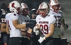 Stillwater running back Edward O'Keefe (39) celebrated after scoring a touchdown in the second quarter. ]