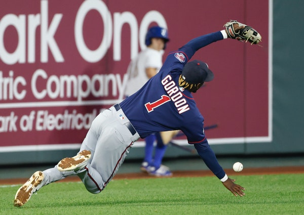 The Twins' Nick Gordon was unable to catch a short fly ball from the Royals' Andrew Benintendi during the fourth inning Friday night.