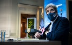 U.S. Special Presidential Envoy for Climate John Kerry attends a virtual Leaders Summit on Climate, at the White House in Washington, April 22, 2021.