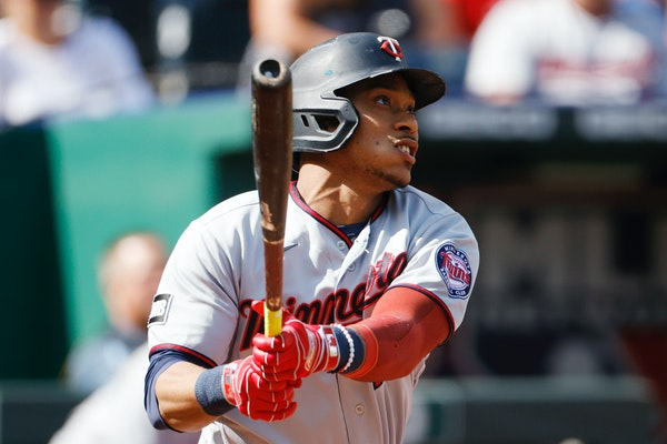 The Twins' Jorge Polanco watches his three-run home run during the first inning Sunday.