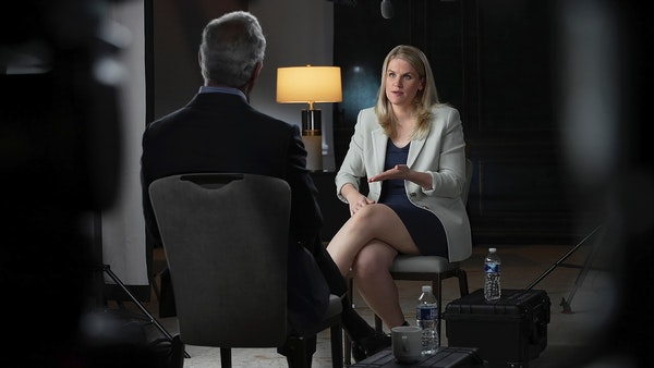 """In this photo provided by CBS, Facebook whistleblower Frances Haugen talks with CBS' Scott Pelley on """"60 Minutes,"""" in an episode that aired Sund"""