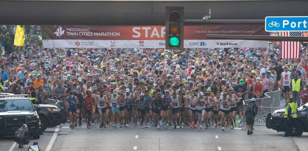 Some 4,500 runners took part in the Twin Cities Marathon from downtown Minneapolis to the State Capitol grounds in St. Paul on Sunday, Oct. 3.
