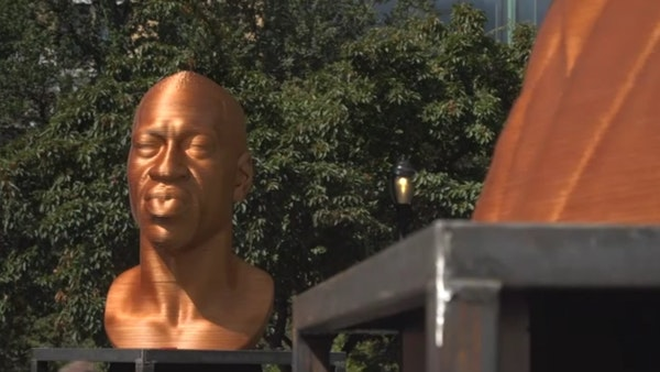 George Floyd gold statue goes on display in NYC