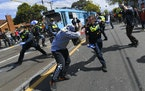 Victoria police clashed with protesters during a Rally for Freedom in Melbourne, Australia, on Saturday, Sept. 18, 2021. The protesters were demonstra
