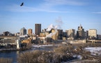 The skyline of downtown St. Paul seen from the Smith Avenue High Bridge.