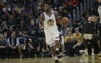 Golden State Warriors guard Andrew Wiggins (22) against the Miami Heat during an NBA basketball game in San Francisco, Monday, Feb. 10, 2020. (AP Phot