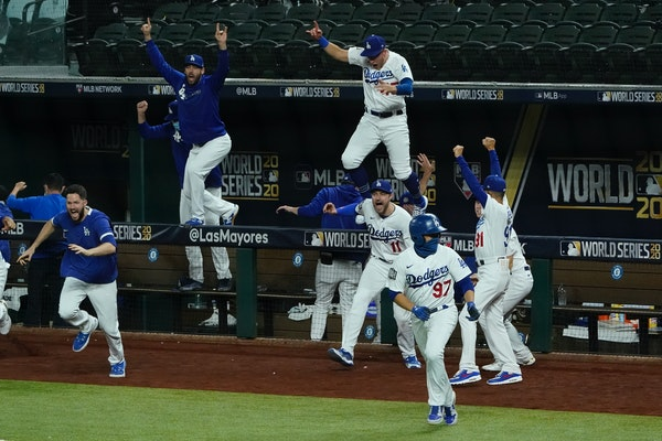 Los Angeles Dodgers celebrate after winning the 22020 World Series.