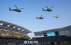 Helicopters hovered over the field before the 2021 MLS All-Star Game in Los Angeles on Aug. 25.