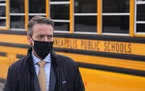 Minneapolis Public Schools Superintendent Ed Graff took questions Wednesday from reporters following a tour of Pillsbury Elementary School to see what