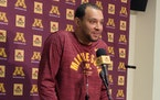 Ben Johnson talks after first practice with the Gophers basketball team this fall.