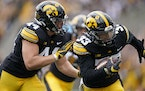 Iowa defensive back Riley Moss (33) returned one of two interceptions for touchdowns against Indiana on Sept. 4.