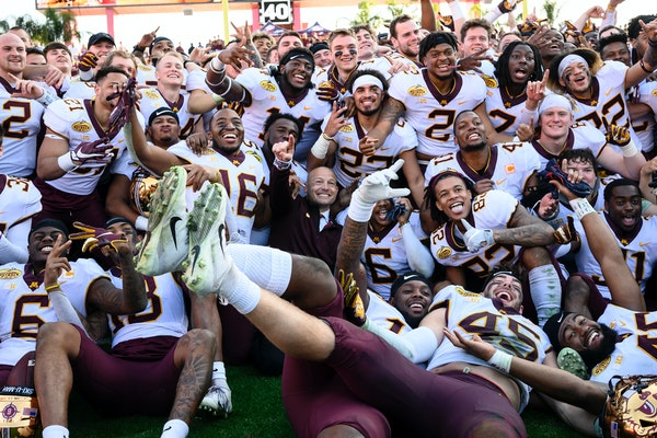 The Gophers celebrated after defeating Auburn in the Outback Bowl on Jan. 1, 2020 at Raymond James Stadium in Tampa, Fla.