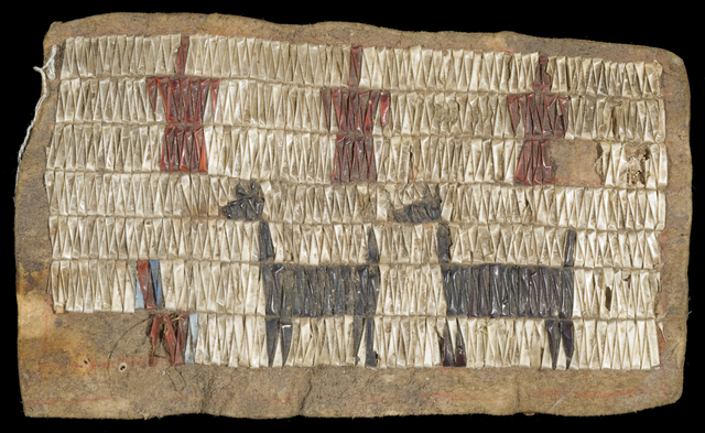 A hide decorated with dyed quills to illustrate dogs and birds. A Dakota person created it as part of a cradleboard, used to carry babies, likely between the 1770s and 1850s.
