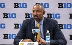 Michigan coach Juwan Howard spoke on the first day of the Big Ten basketball Media Days Thursday in Indianapolis.