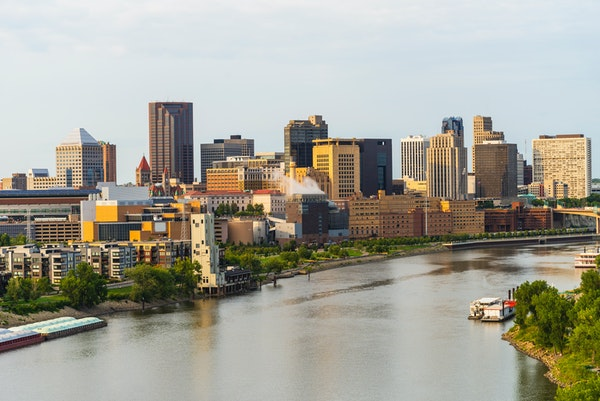 The St. Paul skyline as seen from across the Mississippi River.