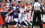 Vikings linebacker Nick Vigil (59) had 30 tackles, an interception returned for a touchdown and a sack in four starts.