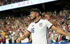 United States' Ricardo Pepi celebrates with teammates after scoring his second goal against Jamaica during a FIFA World Cup qualifying soccer match