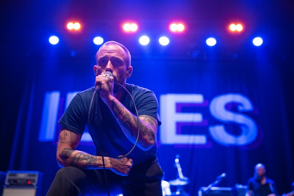 Idles singer Joe Talbot intensely eyed the near-capacity crowd Thursday night at the Palace Theatre.