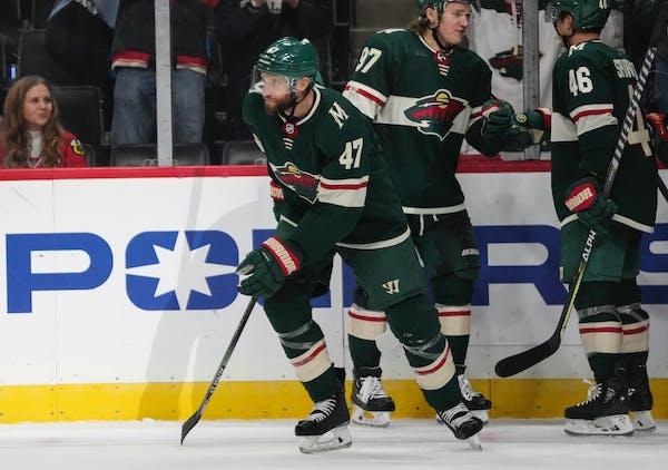 Minnesota Wild defenseman Alex Goligoski (47) skated to the bench after scoring in the third period.   ] RENEE JONES SCHNEIDER  • renee.jones@star