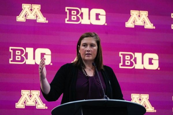 Minnesota women's head coach Lindsay Whalen spoke during the Big Ten media days in Indianapolis on Friday.