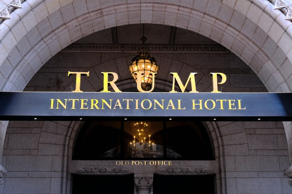This March 11, 2019 file photo, shows the north entrance of the Trump International in Washington.