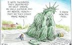 Editorial cartoon: Christopher Weyant on Facebook's damage