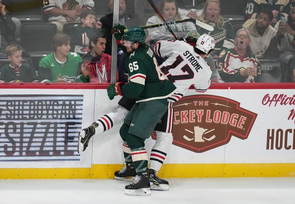 Brandon Duhaime (65) filled the Wild's final forward spot when the team settled on its opening-night roster.