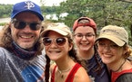 Derek Johnson and his daughters, from left to right, Leah, Emma, and Erica, at Interstate State Park.
