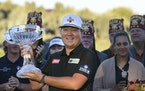 Sungjae Im celebrates his victory in the Shriners Children's Open