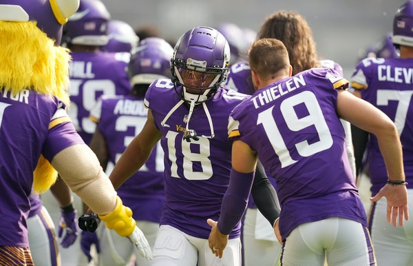 Vikings receivers Justin Jefferson (18) and Adam Thielen rested Wednesday.