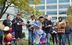 Skylar Stillday, 10, dances at Monday's Indigenous People's Day celebration at Duluth City Hall.