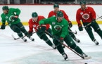 Marcus Foligno led the rush during the first day of Wild training camp on Sept. 14 in St. Paul. Training camp ended with a stop in Duluth on Tuesday.