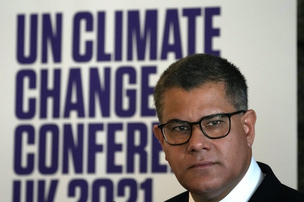 President of the 2021 United Nations Climate Change Conference, COP26, Alok Sharma answers a reporter during a press conference at UNESCO headquarters